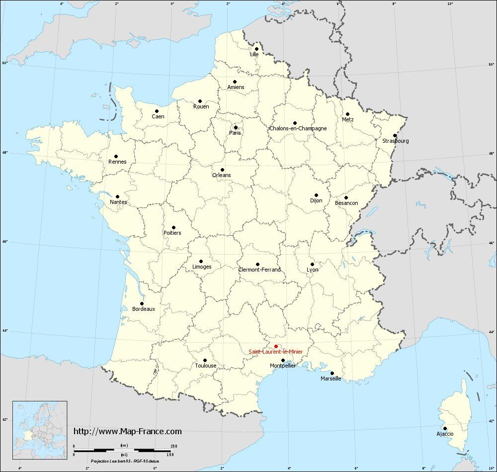 Carte administrative of Saint-Laurent-le-Minier