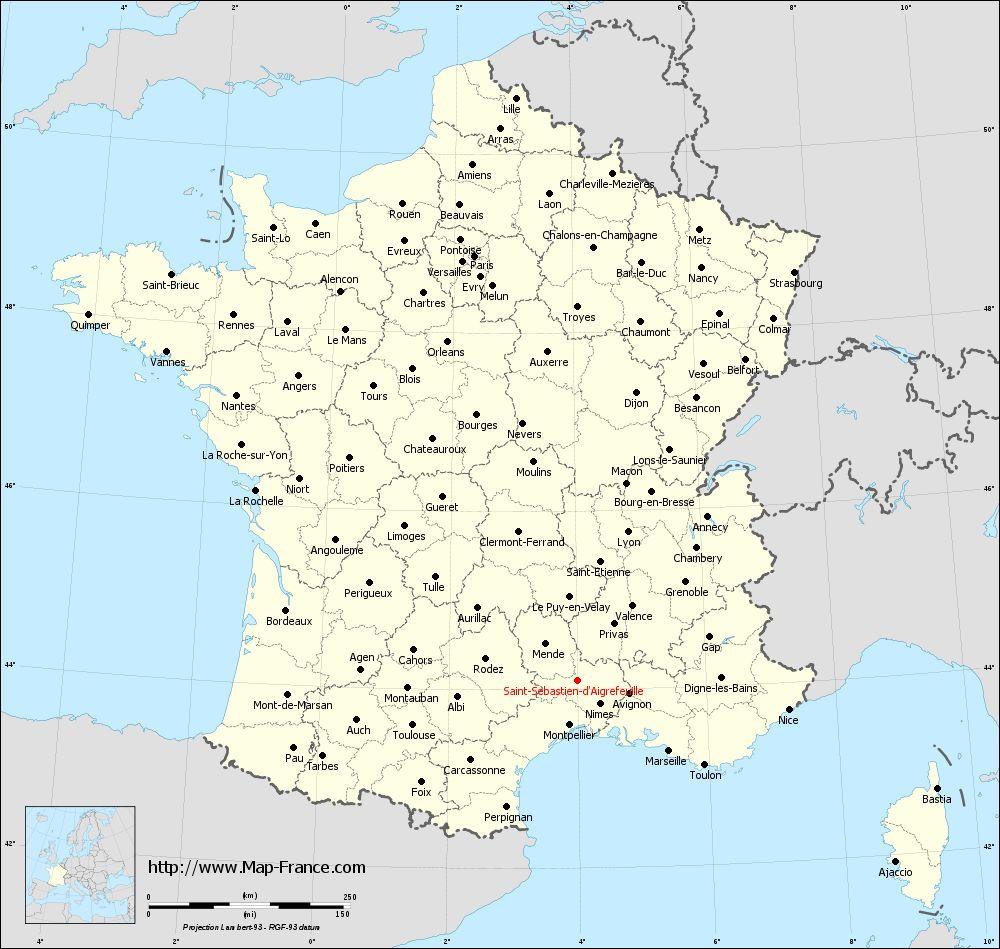 Administrative map of Saint-Sébastien-d'Aigrefeuille