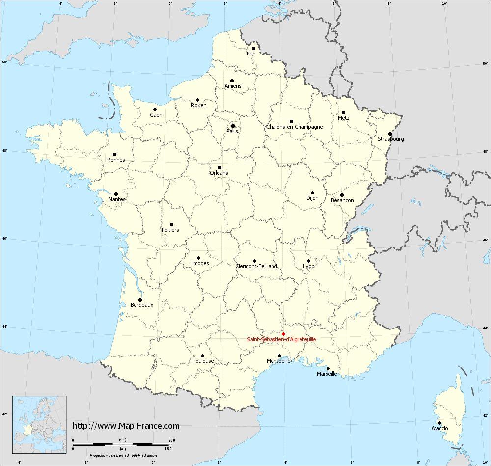 Carte administrative of Saint-Sébastien-d'Aigrefeuille