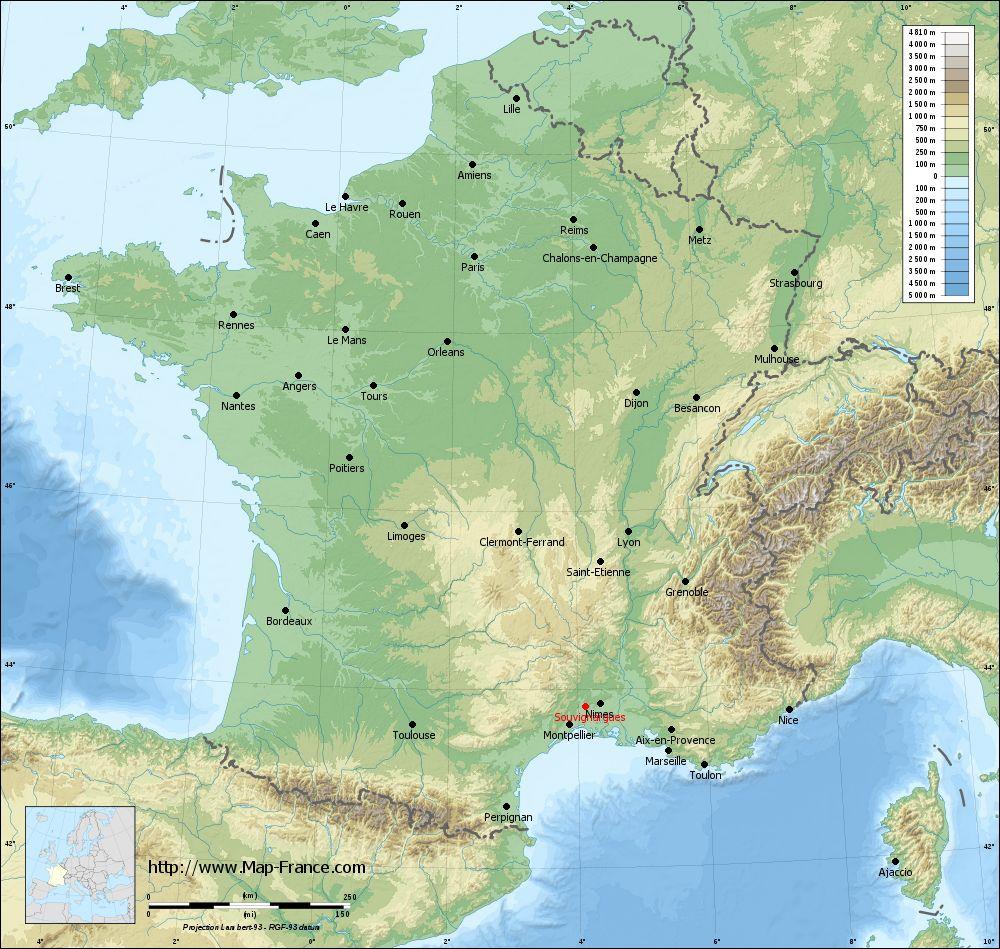 Carte du relief of Souvignargues