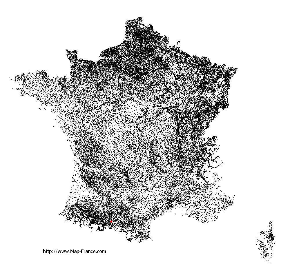 Ausseing on the municipalities map of France