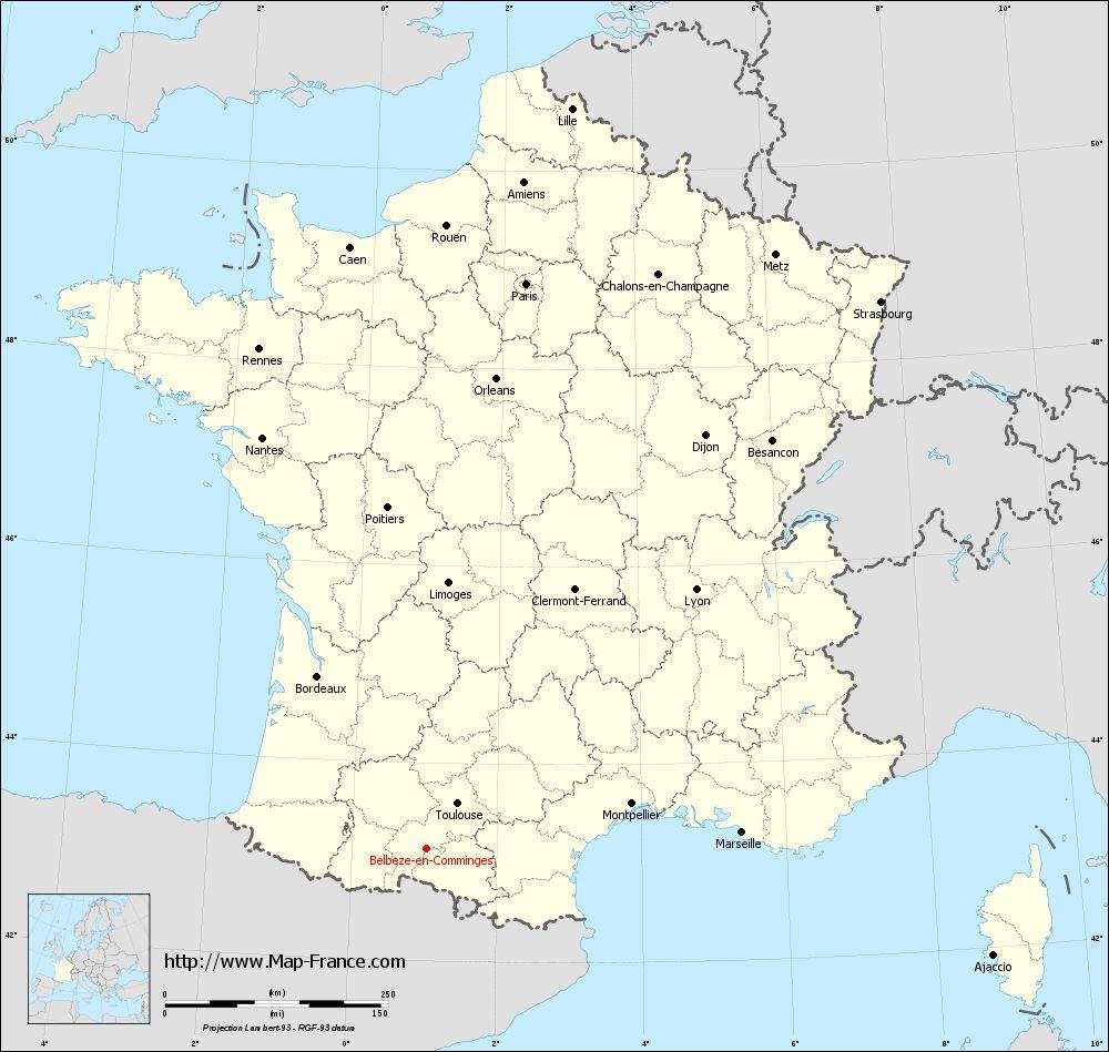 Carte administrative of Belbèze-en-Comminges