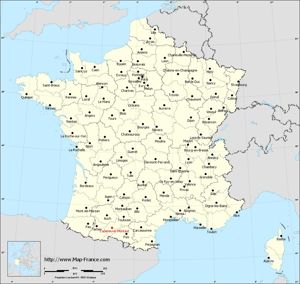 Administrative map of Cazeneuve-Montaut