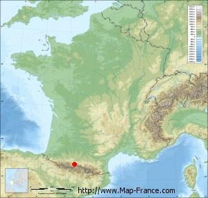 Small france map relief of Gouaux-de-Luchon
