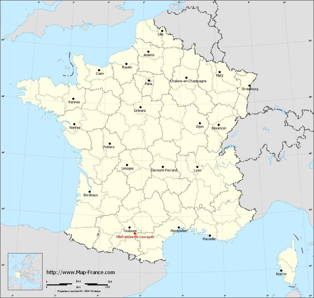 Carte administrative of Villefranche-de-Lauragais