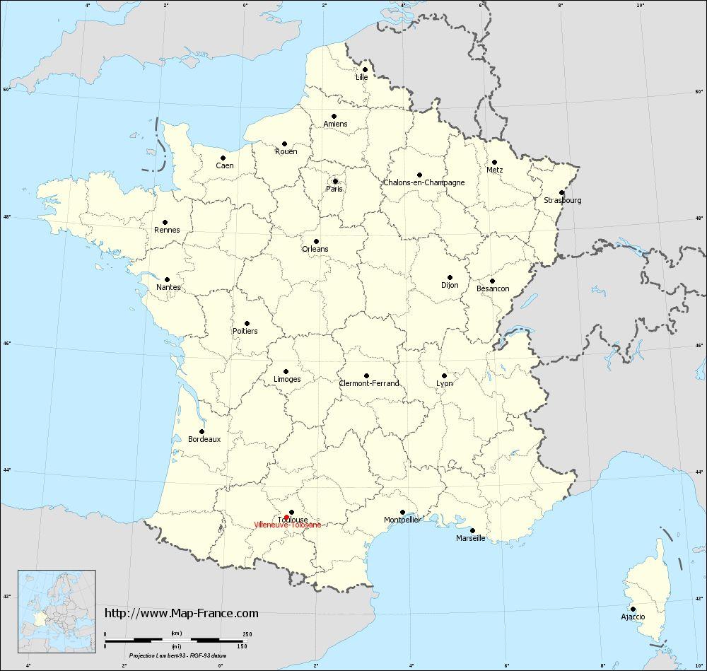 Carte administrative of Villeneuve-Tolosane