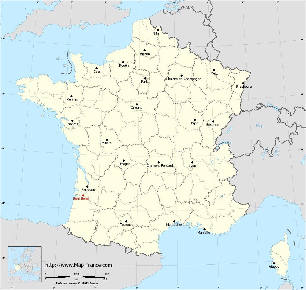 Carte administrative of Belin-Béliet