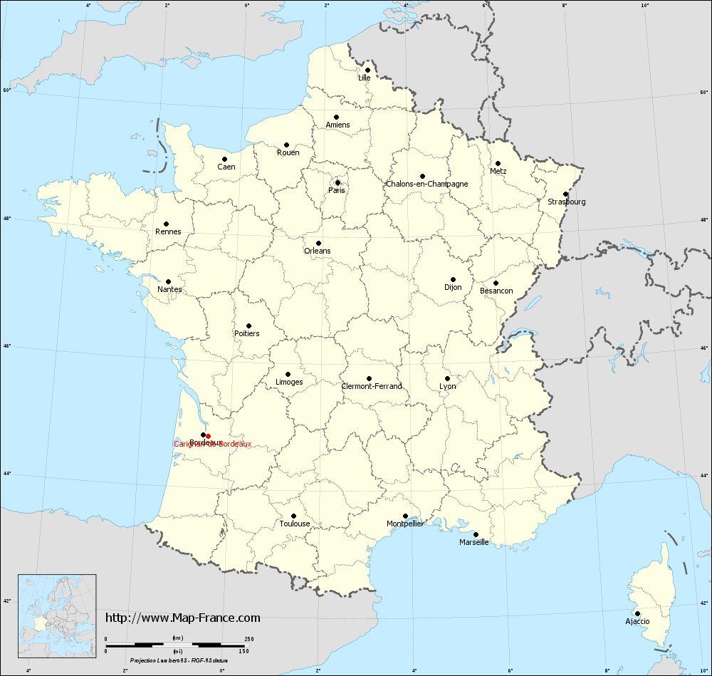 Carte administrative of Carignan-de-Bordeaux
