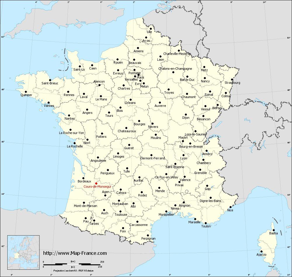 Administrative map of Cours-de-Monségur