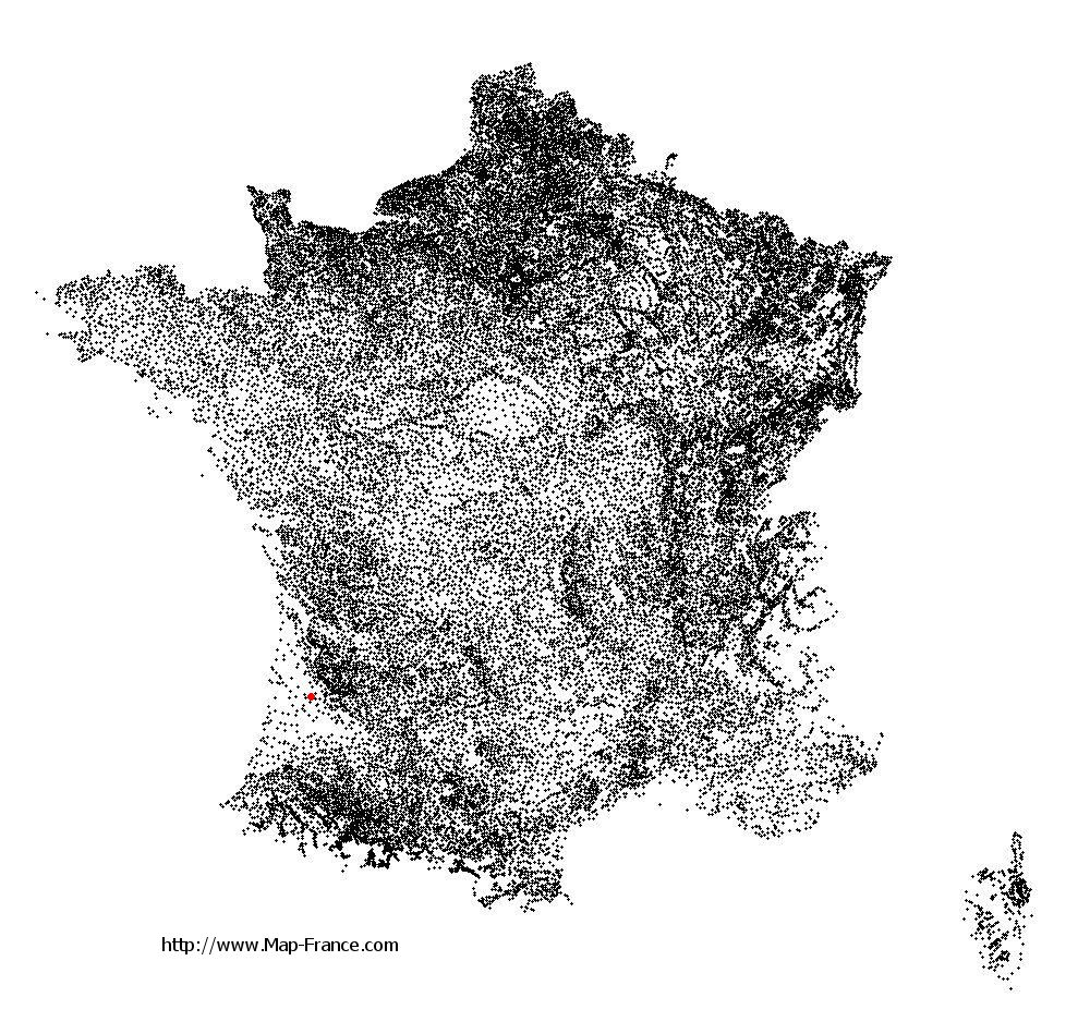 Louchats on the municipalities map of France