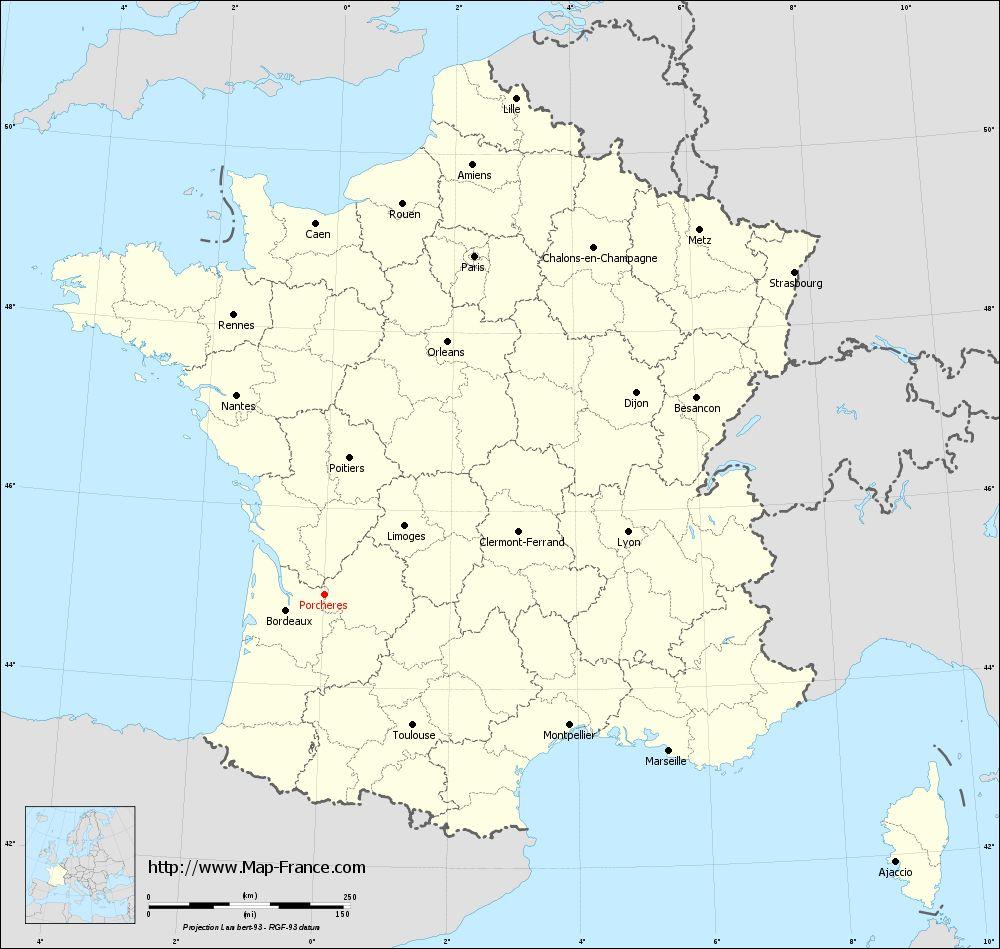 Carte administrative of Porchères