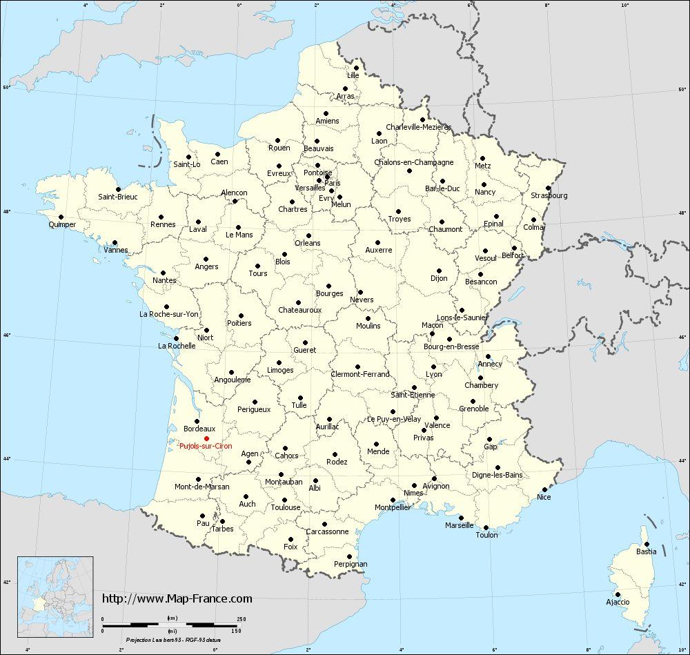Administrative map of Pujols-sur-Ciron