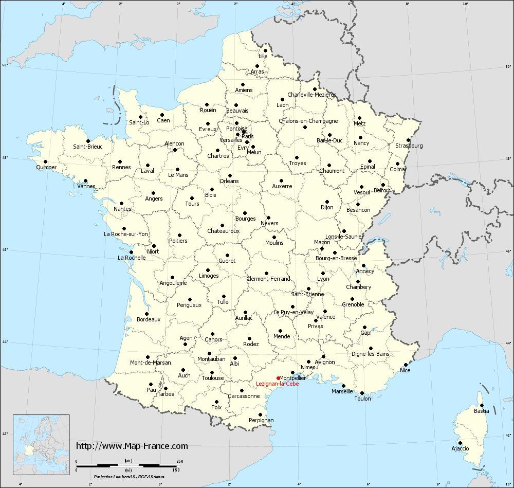 Administrative map of Lézignan-la-Cèbe
