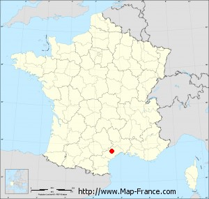 Small administrative base map of Mourèze