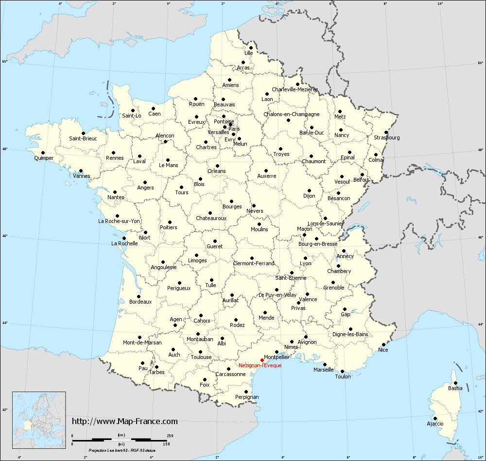Administrative map of Nézignan-l'Évêque