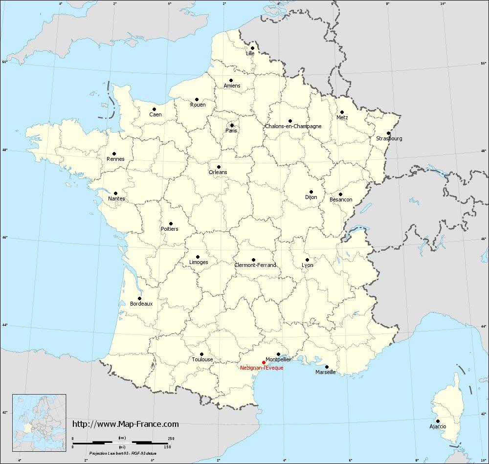 Carte administrative of Nézignan-l'Évêque