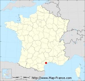 Small administrative base map of Pézenas