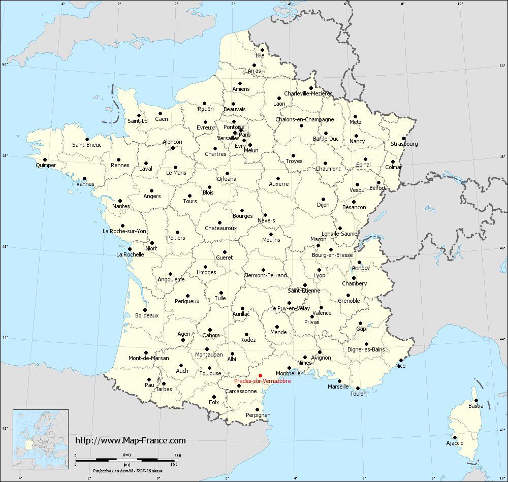Administrative map of Prades-sur-Vernazobre