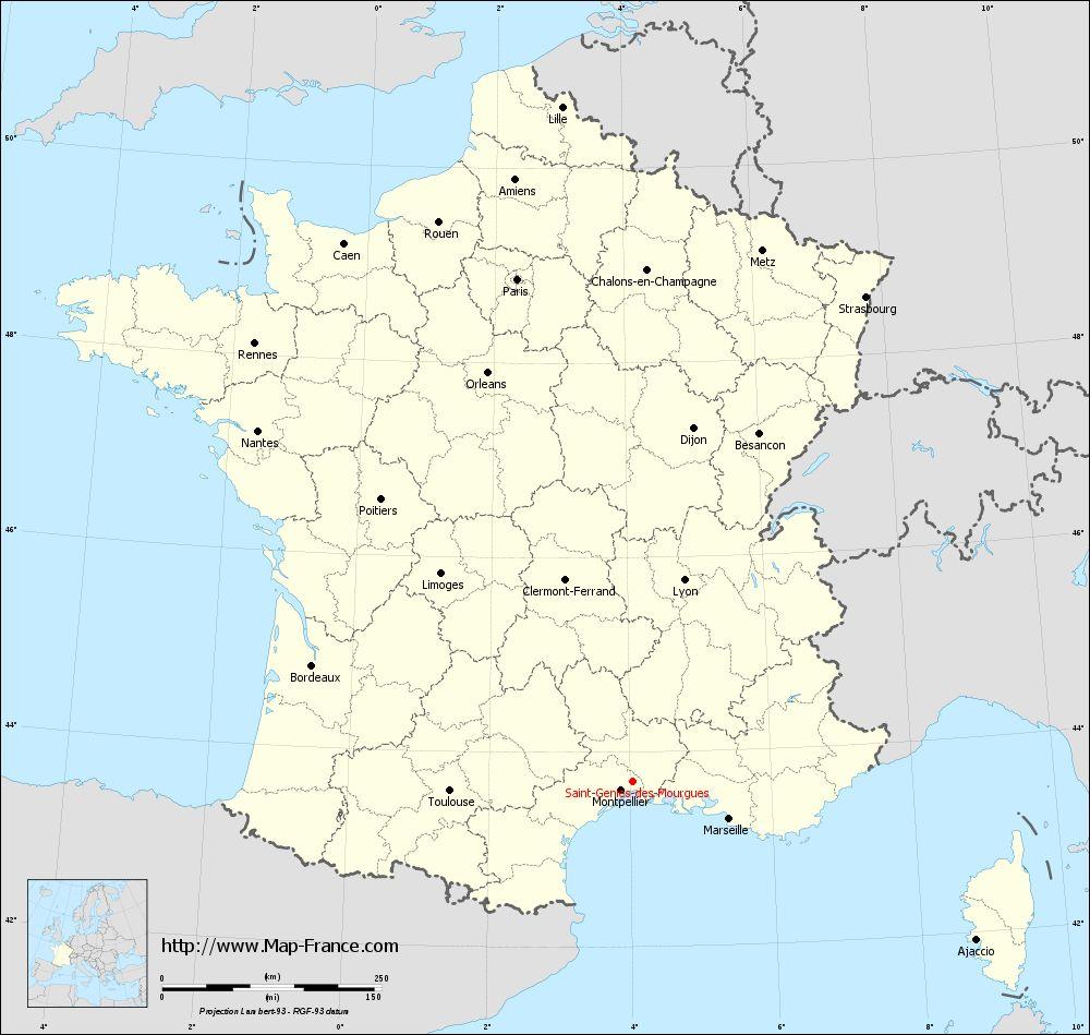 Carte administrative of Saint-Geniès-des-Mourgues