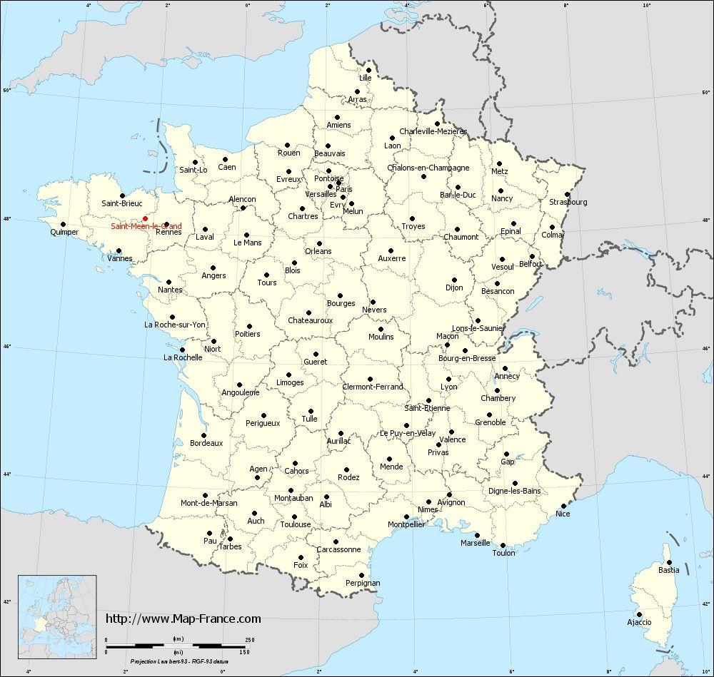 Administrative map of Saint-Méen-le-Grand