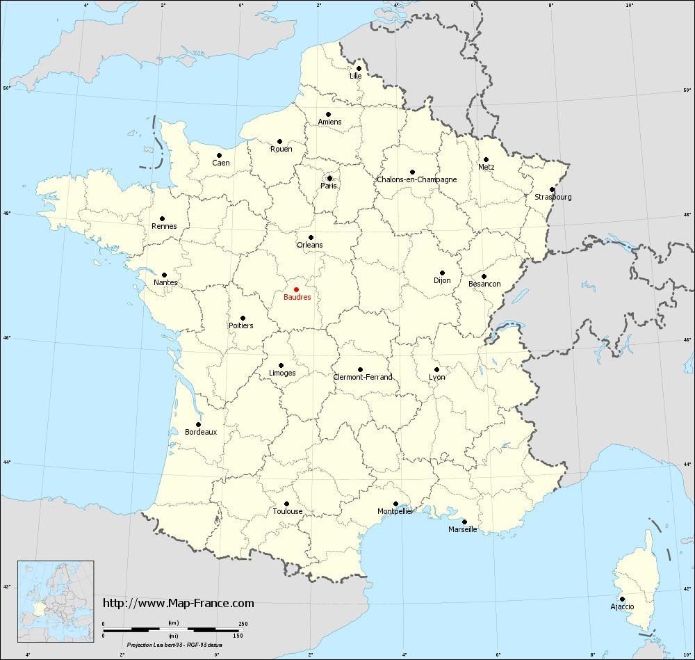 Carte administrative of Baudres