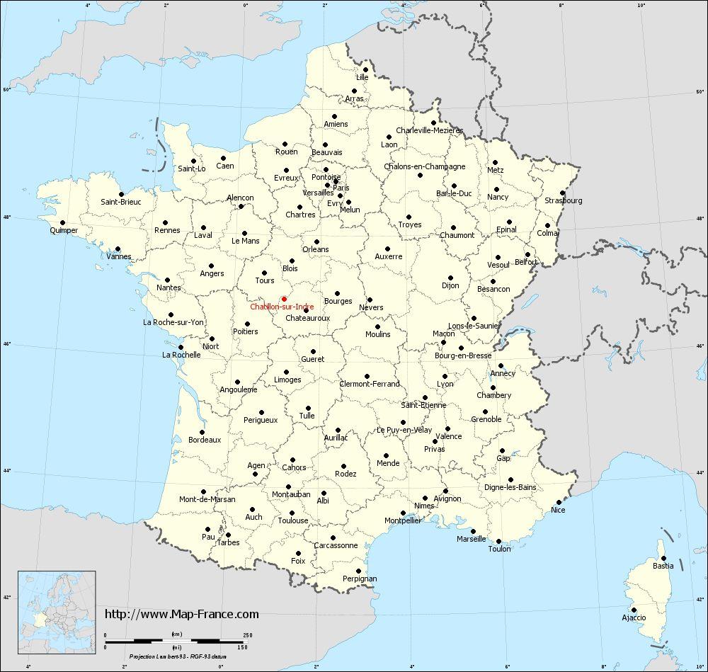 Administrative map of Châtillon-sur-Indre