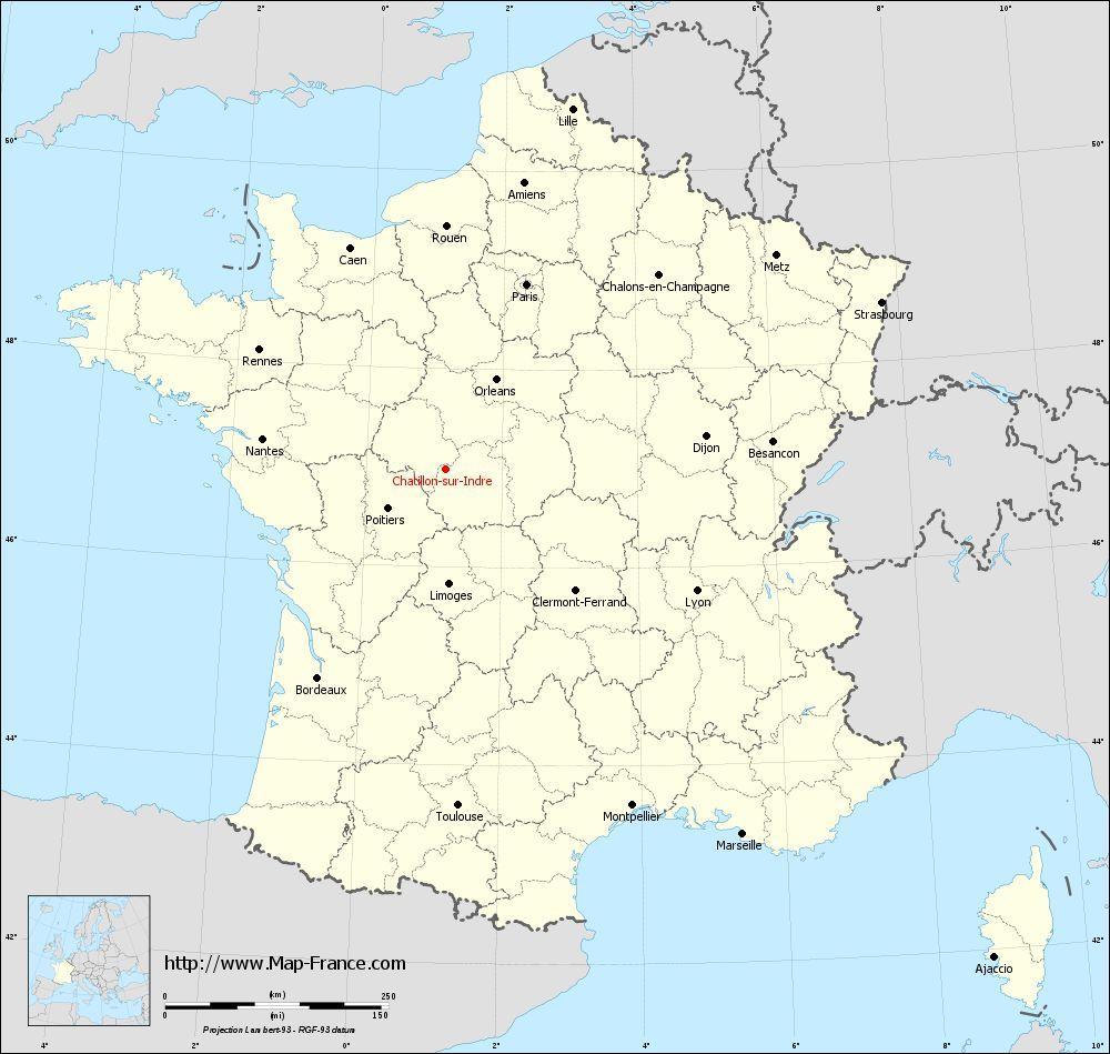 Carte administrative of Châtillon-sur-Indre