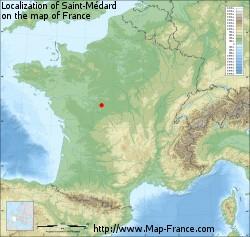 Saint-Médard on the map of France