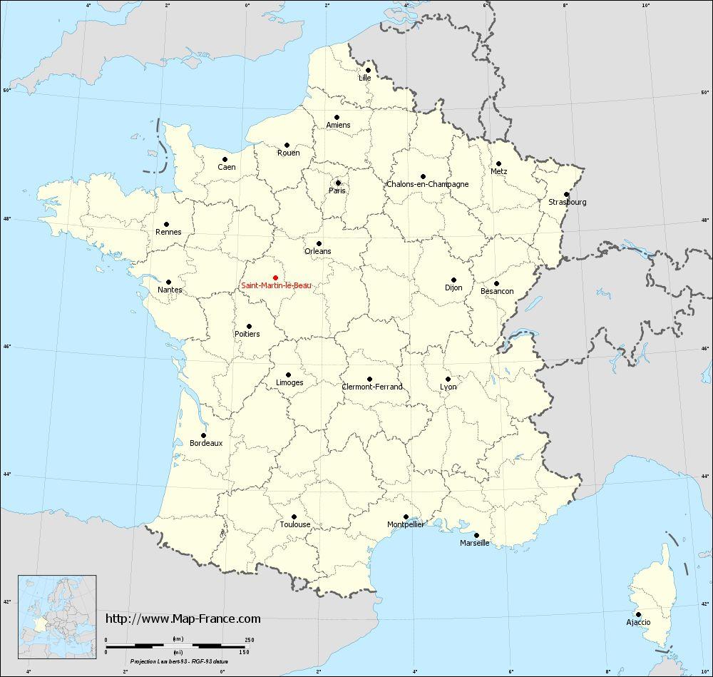 Carte administrative of Saint-Martin-le-Beau