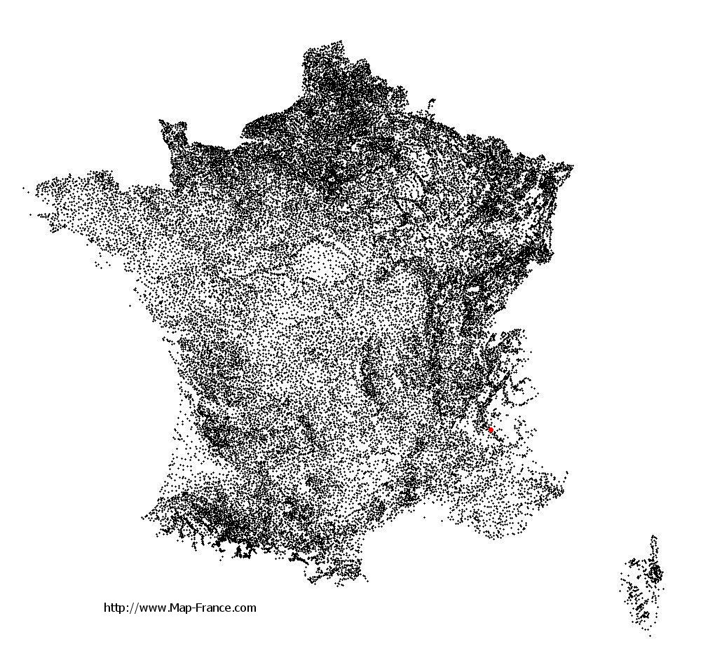 Corps on the municipalities map of France