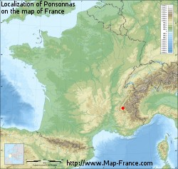 Ponsonnas on the map of France