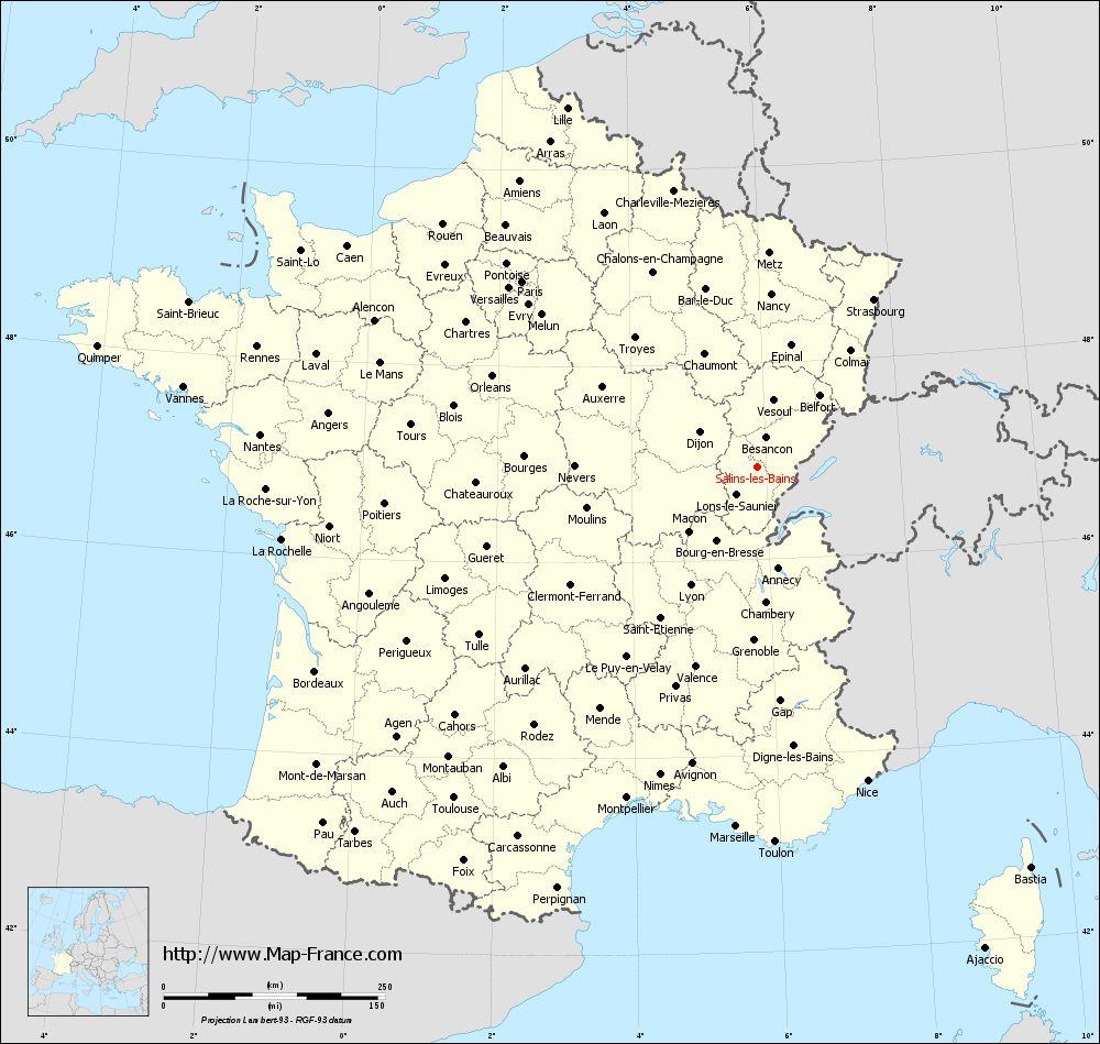Road map salins les bains maps of salins les bains 39110 for Salins les bains