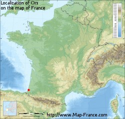 Orx on the map of France