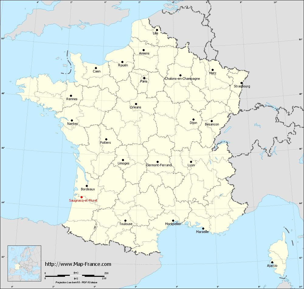Carte administrative of Saugnacq-et-Muret