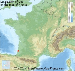 Uza on the map of France