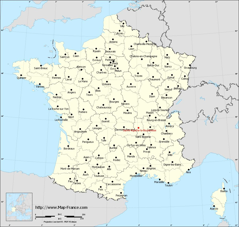 Administrative map of Sainte-Agathe-la-Bouteresse