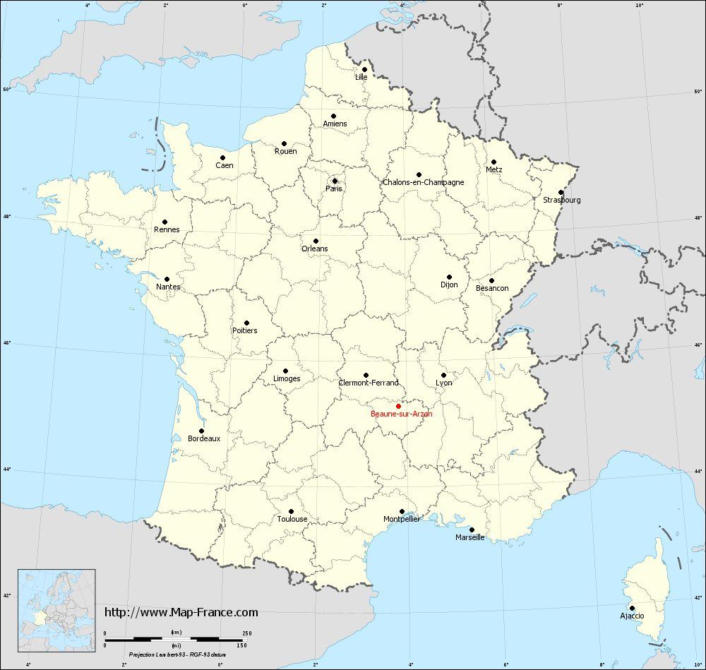 Carte administrative of Beaune-sur-Arzon