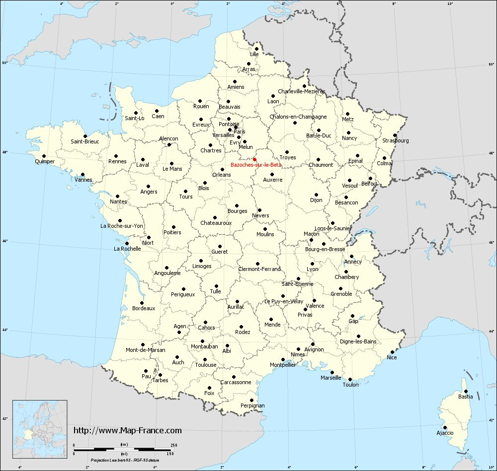 Administrative map of Bazoches-sur-le-Betz
