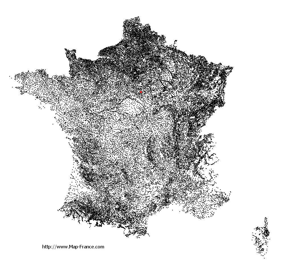 Préfontaines on the municipalities map of France