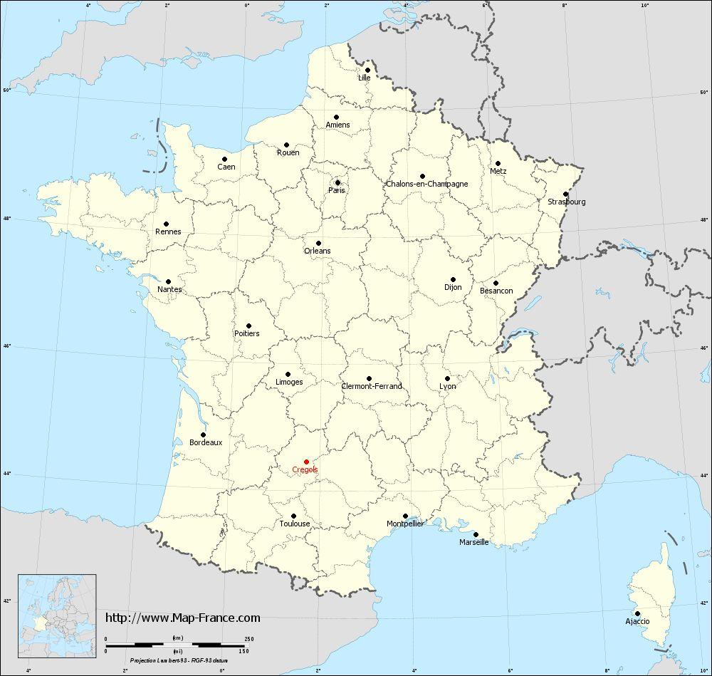 Carte administrative of Crégols