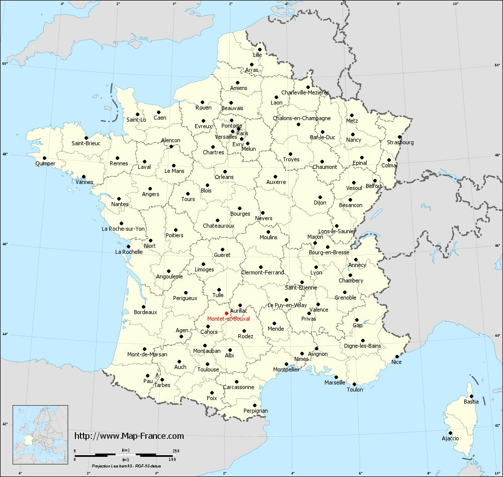 Administrative map of Montet-et-Bouxal