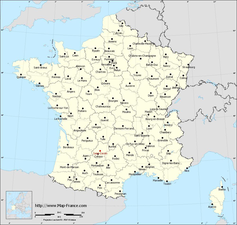 Administrative map of Saint-Cernin