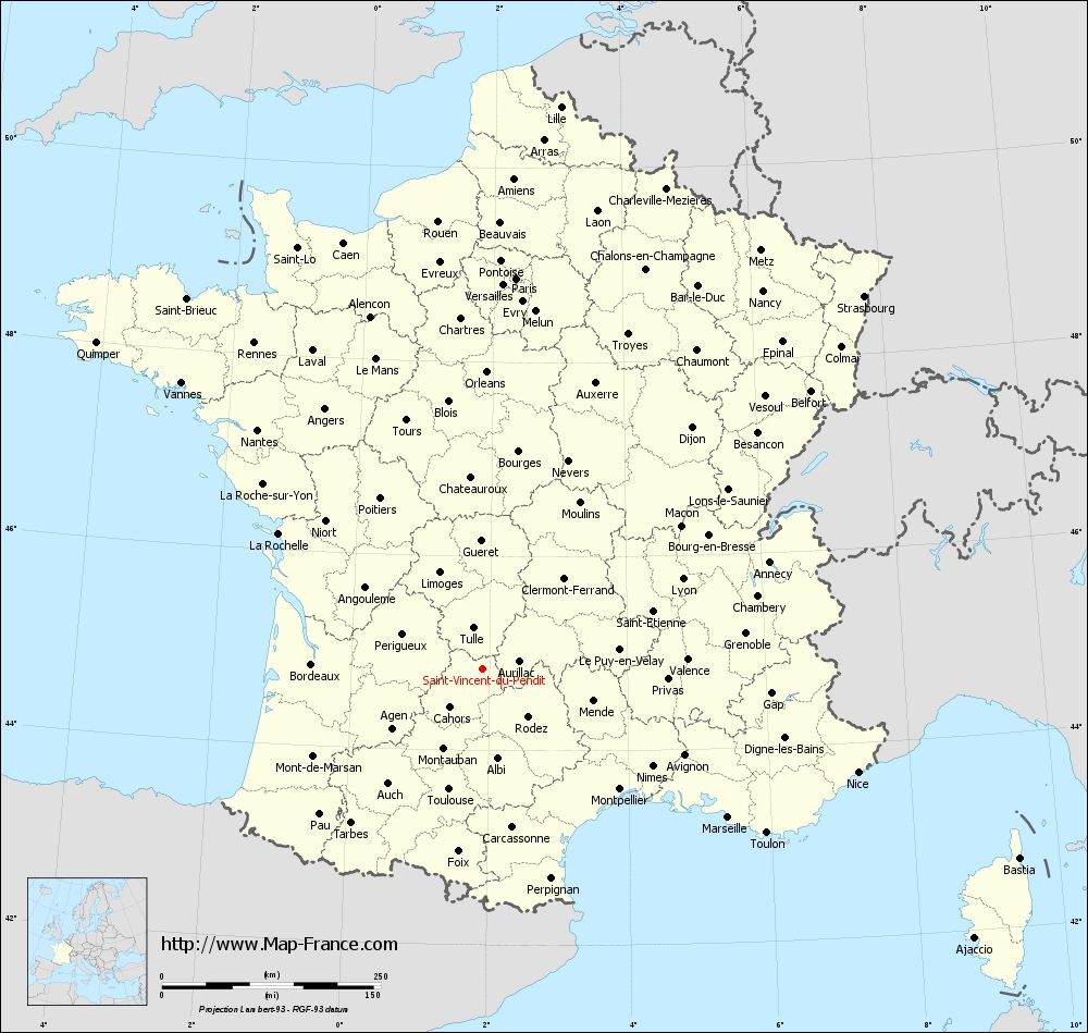 Administrative map of Saint-Vincent-du-Pendit