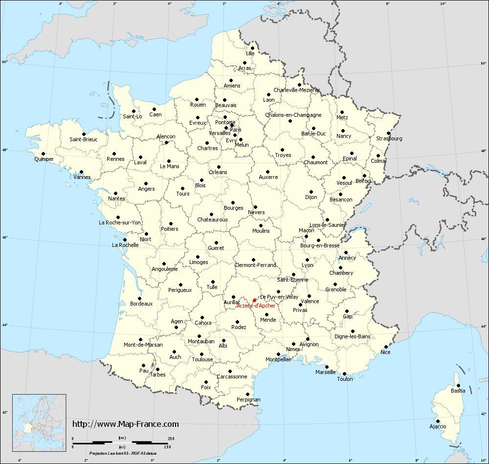 Administrative map of Arzenc-d'Apcher