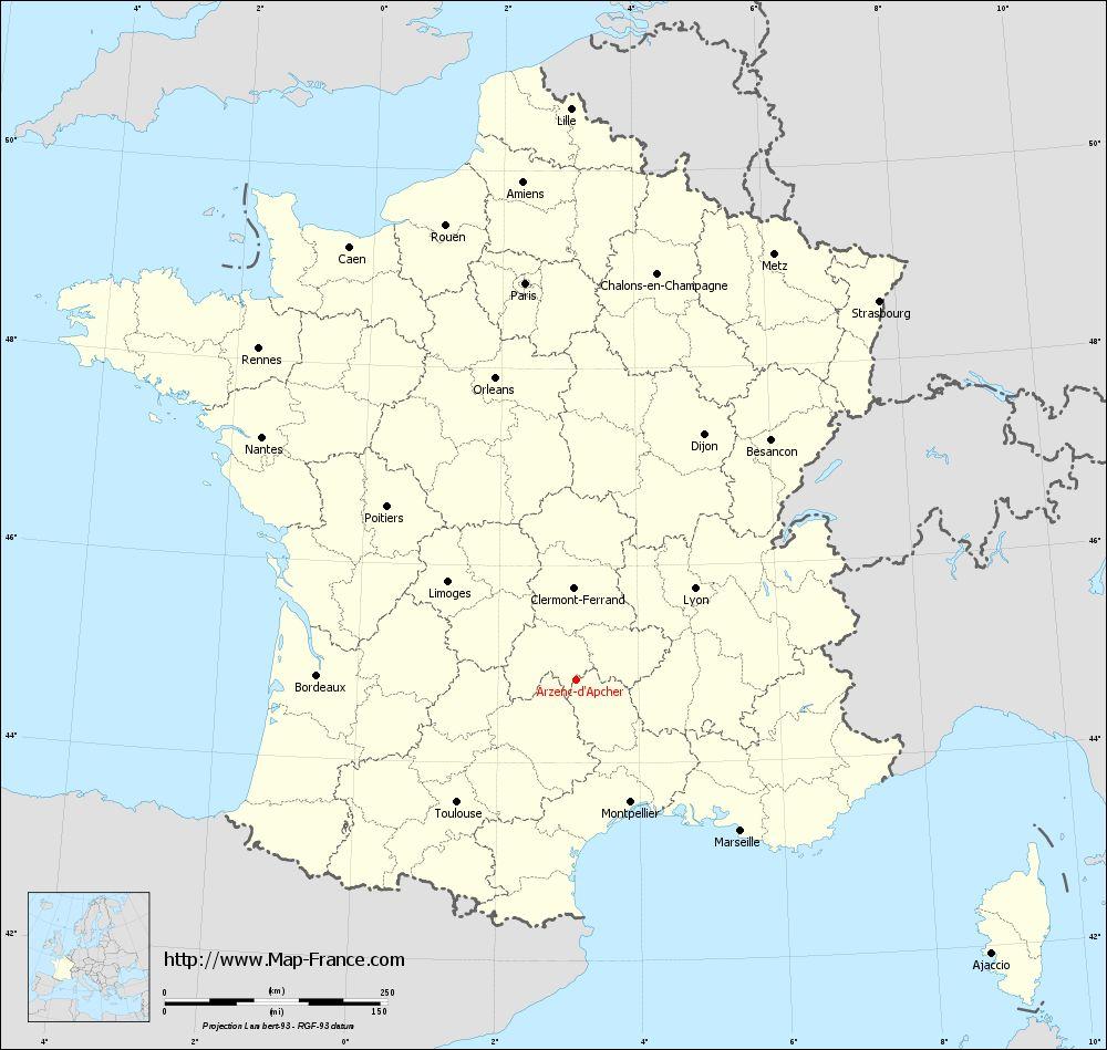 Carte administrative of Arzenc-d'Apcher