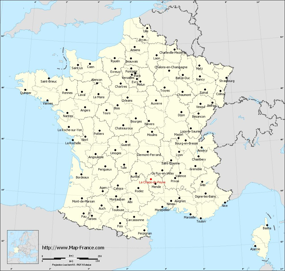 Administrative map of La Chaze-de-Peyre