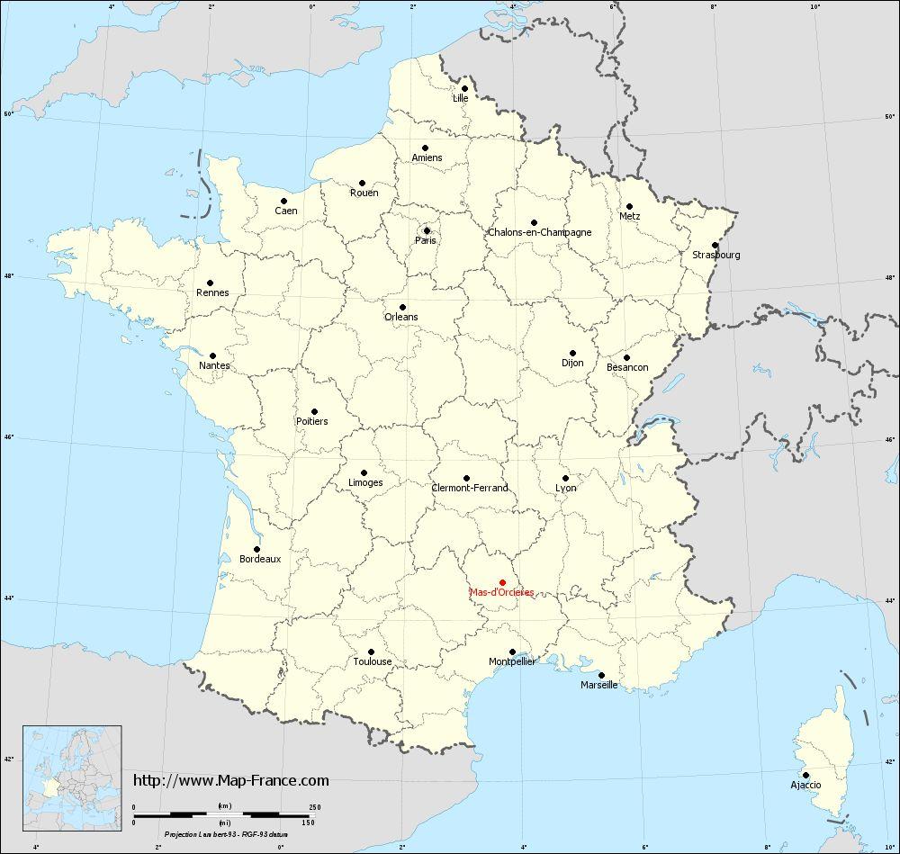 Carte administrative of Mas-d'Orcières