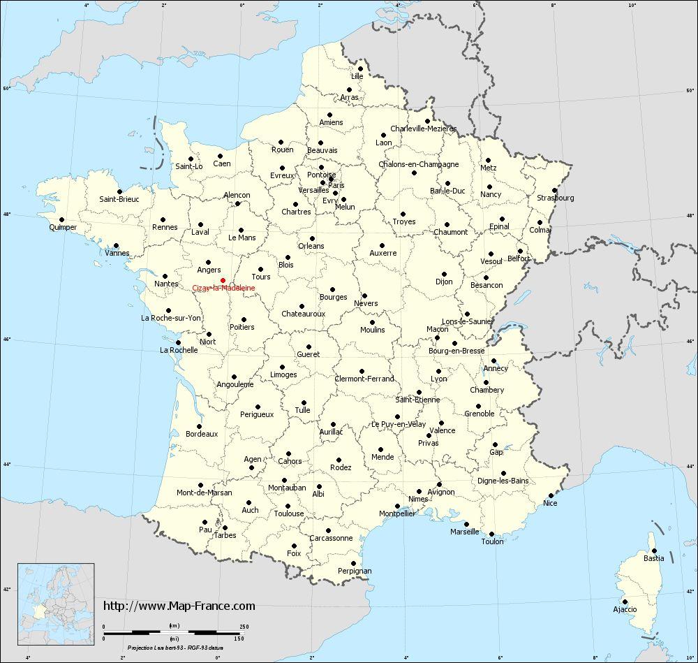 Administrative map of Cizay-la-Madeleine