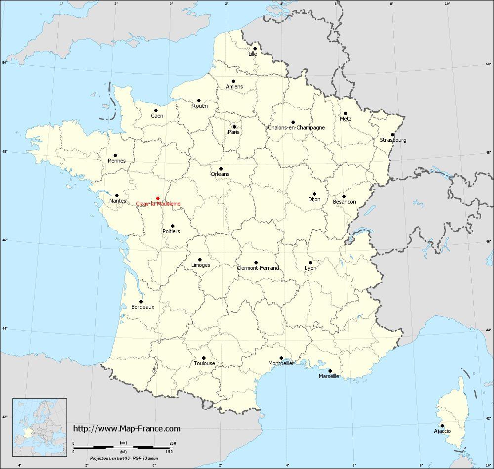 Carte administrative of Cizay-la-Madeleine