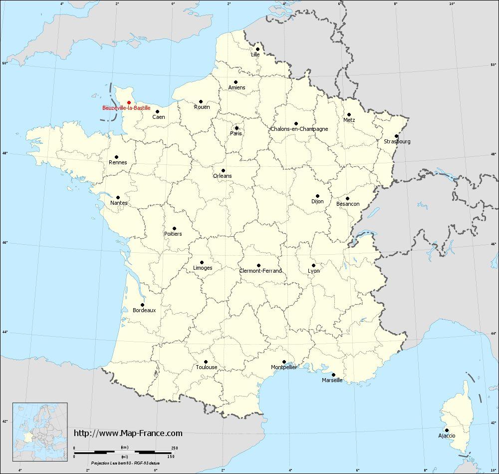 ROAD MAP BEUZEVILLE-LA-BASTILLE : maps of Beuzeville-la-Bastille 50360